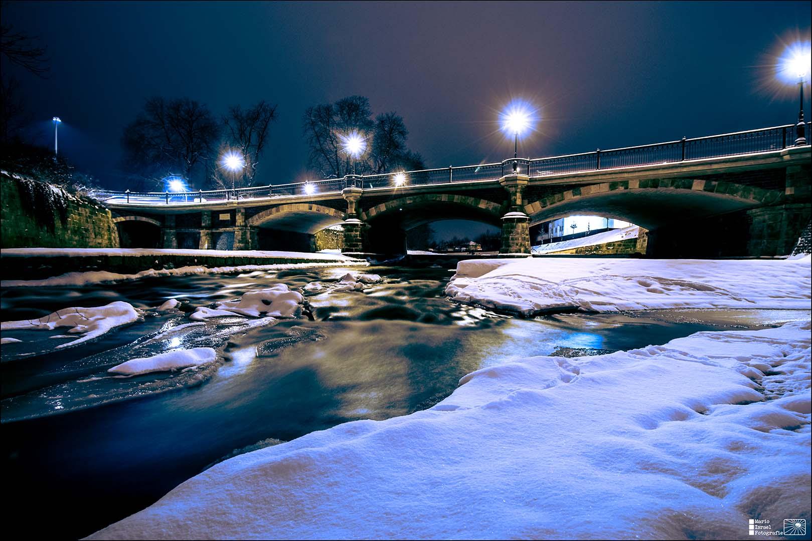 Winterzauber an der König-Albert-Brücke